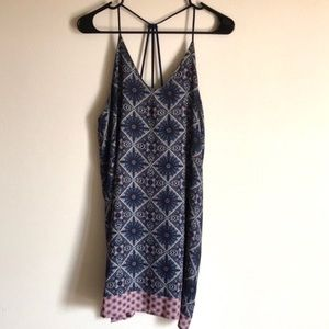 Soprano Navy Patterned Medallion Slip Dress